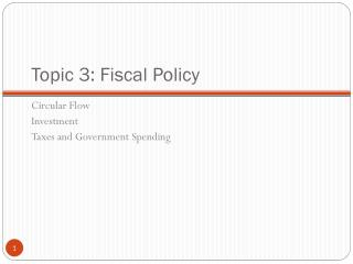 Topic 3: Fiscal Policy