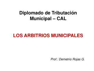 Diplomado de Tributación Municipal – CAL LOS ARBITRIOS MUNICIPALES Prof.: Demetrio Rojas G.