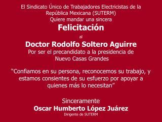 El Sindicato Único de Trabajadores Electricistas de la República Mexicana (SUTERM)