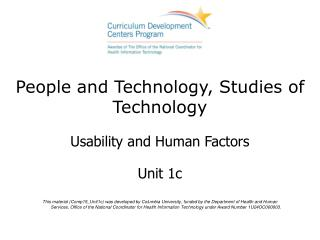 People and Technology, Studies of Technology