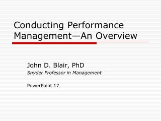 Conducting Performance Management—An Overview