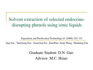 Solvent extraction of selected endocrine-disrupting phenols using ionic liquids