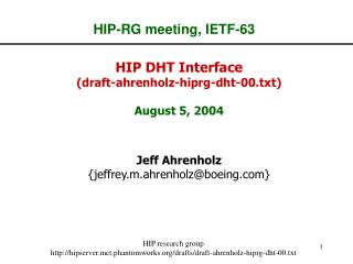 HIP-RG meeting, IETF-63