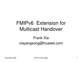 FMIPv6  Extension for Multicast Handover