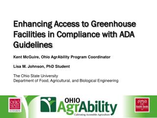 Enhancing Access to Greenhouse Facilities in Compliance with ADA Guidelines