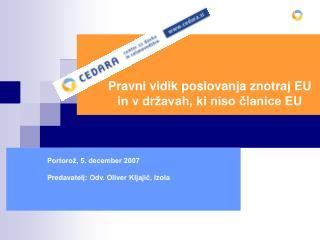 Pravni vidik poslovanja znotraj EU in v državah, ki niso članice EU