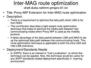 Inter-MAG route optimization draft-dutta-netlmm-pmipro-01.txt