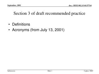 Section 3 of draft recommended practice