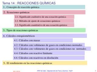 Tema 14 : REACCIONES QUÍMICAS