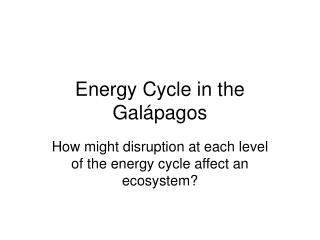 Energy Cycle in the Gal á pagos