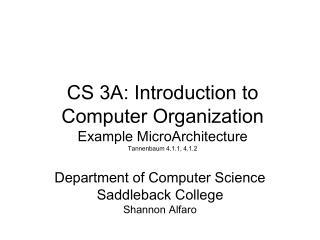 Department of Computer Science Saddleback College Shannon Alfaro