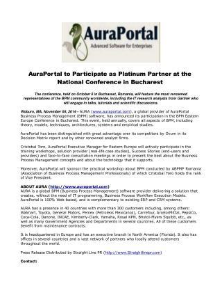 AuraPortal to Participate as Platinum Partner at the Nationa