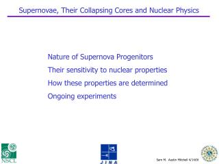 Supernovae, Their Collapsing Cores and Nuclear Physics