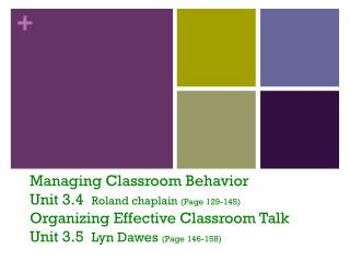 Managing Classroom Behavior  Unit 3.4