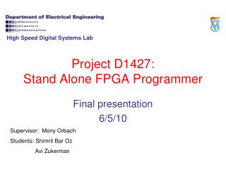 Project D1427: Stand Alone FPGA Programmer