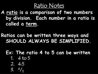 Ratio Notes
