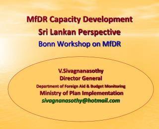 MfDR Capacity Development Sri Lankan Perspective Bonn Workshop on MfDR