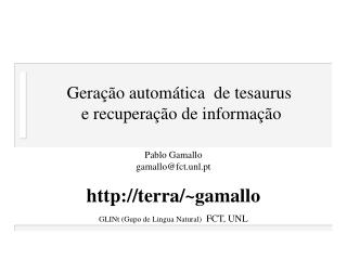 Geração automática  de tesaurus  e recuperação de informação