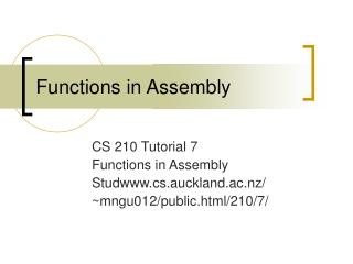Functions in Assembly