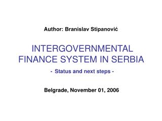 Belgrade, November 01, 2006