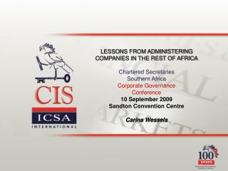 LESSONS FROM ADMINISTERING COMPANIES IN THE REST OF AFRICA Chartered Secretaries  Southern Africa