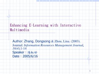 Enhancing E-Learning with Interactive Multimedia