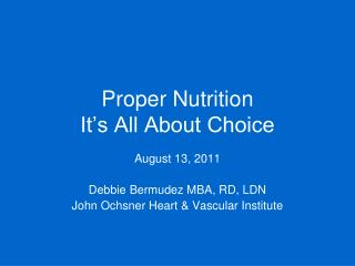Proper Nutrition It's All About Choice