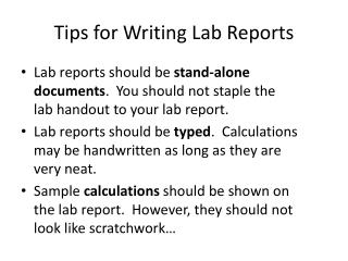 Tips for Writing Lab Reports
