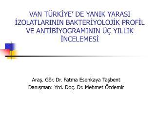 Araş. Gör. Dr. Fatma Esenkaya Taşbent Danışman: Yrd. Doç. Dr. Mehmet Özdemir