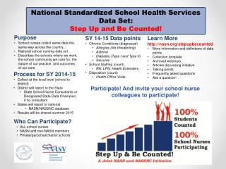 National Standardized  School Health Services Data Set:  Step Up and Be Counted!
