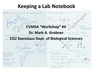 Keeping a Lab Notebook