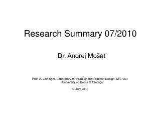 Research Summary 07/2010