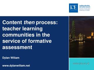 Content  then  process: teacher learning communities in the service of formative assessment