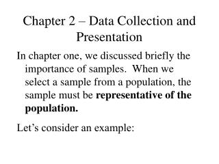 Chapter 2 – Data Collection and Presentation