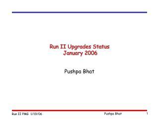 Run II Upgrades Status  January 2006