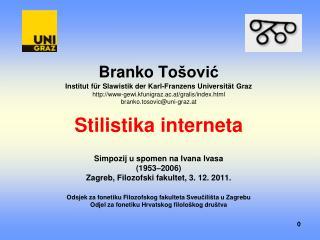 Simpozij u spomen na Ivana Ivasa (1953 – 2006) Zagreb, Filozofski fakultet, 3. 12. 2011.