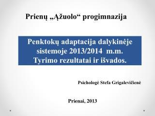 Penktokų adaptacija dalykinėje sistemoje 2013/2014  m.m. Tyrimo rezultatai ir išvados.