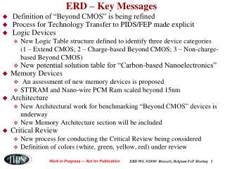 ERD – Key Messages
