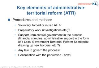 Key elements of administrative-territorial reform (ATR)