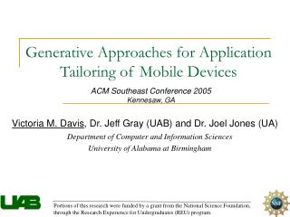 Generative Approaches for Application Tailoring of Mobile Devices