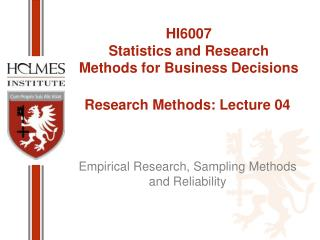 Research Methods: Lecture 04