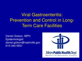 Viral Gastroenteritis: Prevention and Control in Long-Term Care Facilities
