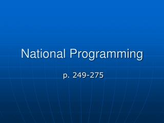 National Programming - Oct. 19