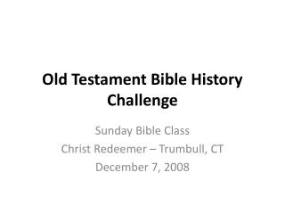 Old Testament Bible History Challenge