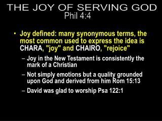 THE JOY OF SERVING GOD