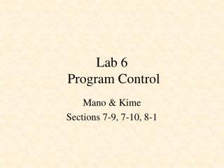 Lab 6  Program Control