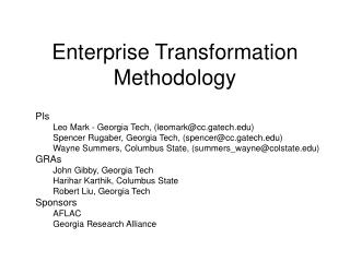 Enterprise Transformation Methodology