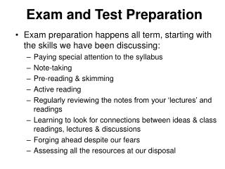 Exam and Test Preparation