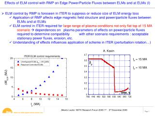 ELM control by RMP is foreseen in ITER to suppress or reduce size of ELM energy loss