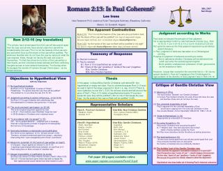 Taxonomy of Responses  A. Paul isn t coherent  B. Paul is coherent  B1. Rom 2:13 is hypothetical an empty set  B2.  Doer